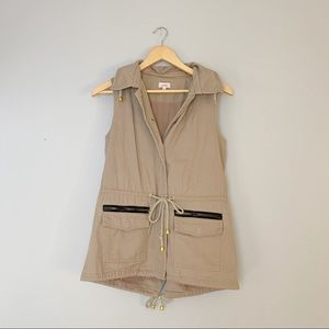 Pixley tan cargo vest with gold hardware